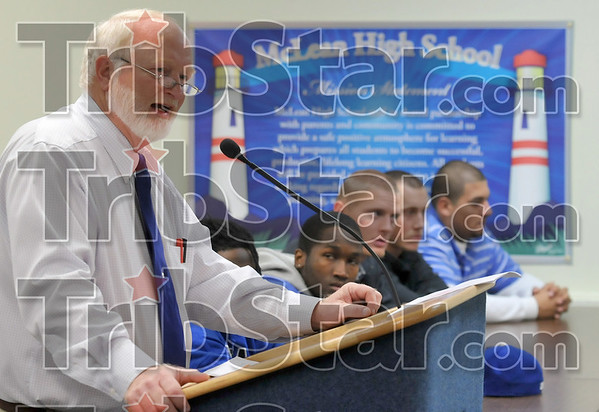 Game plan: McLean High School Principal Rick Stevens discusses the new mentor program between the Indiana State University football team and McLean for its students during a press conference at the school Monday.