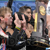 National champs, again: Oregon's Galen Rupp, left, holds up two fingers on each hand to represent the second championship in a row the Ducks have won at the Gibson Championship Cross Country Course Monday.