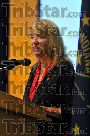 """From the heart: Indiana's First Lady Cheri daniles talks about her personal experiences during ISUs """"Heart to Heart"""" conference Monday evening."""