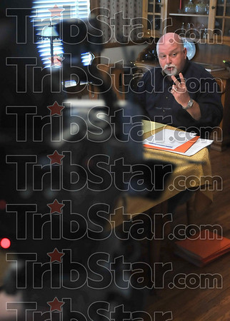 Looking back at the election: Former Terre Haute Mayor Kevin Burke discusses his view on the Hatch Act and the previous mayoral election during a press conference at his home Tuesday.