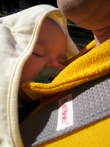 Sleeping on Daddy while we were tailgating (it was cold!)
