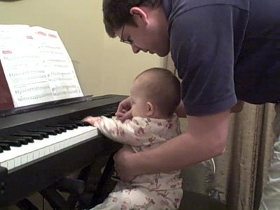 November 4, 2008 - Anna and Daddy play piano.