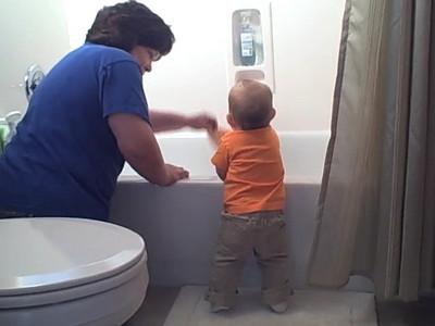 November 02, 2008 - Anna helps Granny clean.