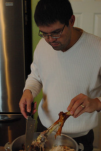 Pedro carving the Thanksgiving turkey