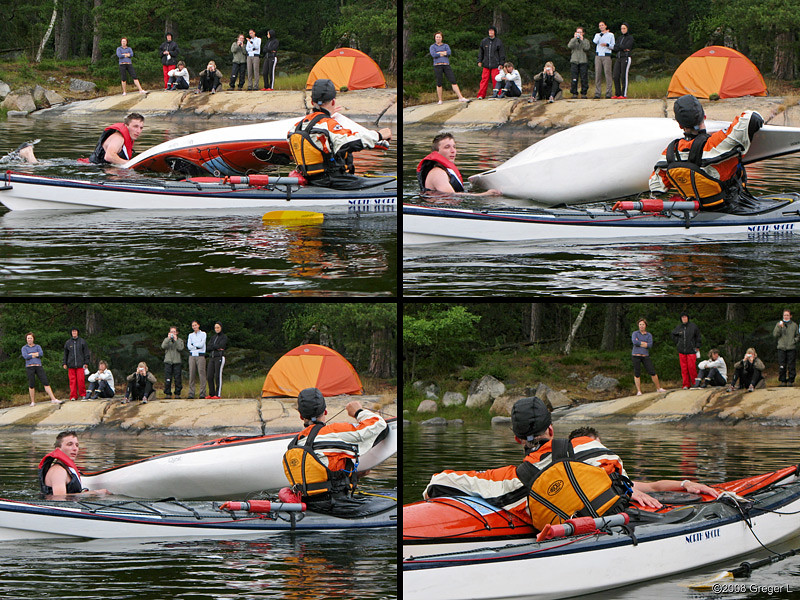 Rescue practise: emptying and lining up the kayak