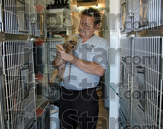 In good hands: Humane Society of Missouri Adoption Center Manager John Anderson loads a dog into a cage just prior to leaving for the St. Louis facility Thursday afternoon.