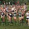 Crowded: Villanova's #1554, Ellen Dougherty leads a large pack of runners during Saturday's pre national open event at the Vern Gibson Cross Country facility.