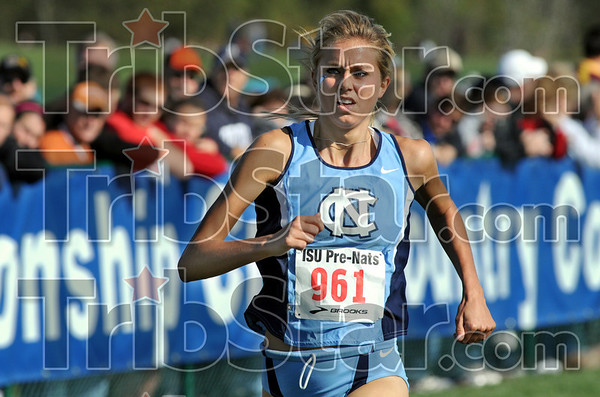 Winner: North Carolina's number one runner Brianna Felnagle cruises to the finish line with a big over the field as she wins the women's blue race Saturday morning.
