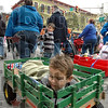 Easy rider: Four-year-old Ashton Mrdja rides in a wagon on the parade route Saturday morning.