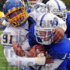 Safety: South Dakota State's Antonio Thompson sacks Indiana State quarterback Ryan Roberts for a second quarter safety in their games Saturday afternon in Terre Haute.