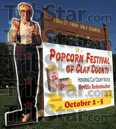 Welcome from Orville: A sign at the entrance to Forest Park in Brazil welcomes all to the annual Popcorn Fest.