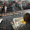Contest: Spectators watch participants in the popcorn eating contest at the Popcorn Fest in Brazil Saturday morning.
