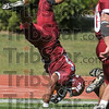 Head first for six: Rose-Hulman tight end Reed Eason leaps into the endzone to score against Manchester Saturday at Rose-Hulman.