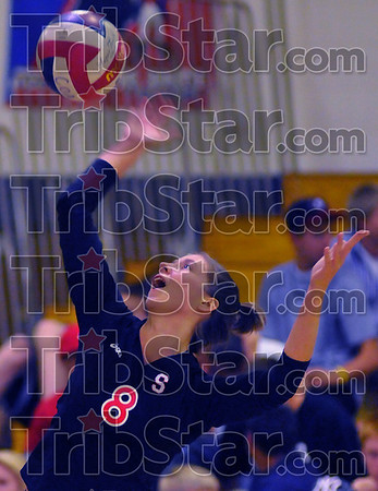 Senior: Erica Sell serves against Terre Haute North in their September matchup.