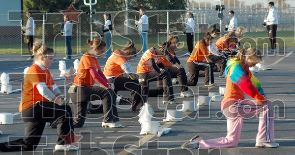 Preparation: Members of the Northview band prepare for competition Wednesday evening.