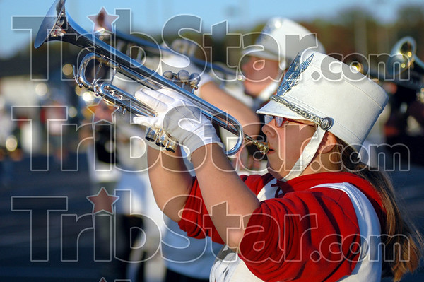 Horns up: A brass section player takes a breath during Wednesday's practice at Northview.
