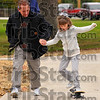 Steady as she goes: Seven year old Megan Reed gets a helping hand from her dad Mike as they enjoy the first day at the skate park.