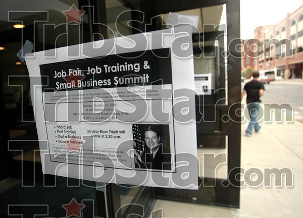 Job Fair: Detail photo of flyer on door at Hulman Center.