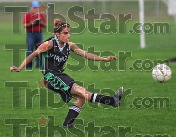 Advance: West Vigo defender Sarah Klotz advances the ball against South Vermillion during sectional action Tuesday night at Terre Haute South.
