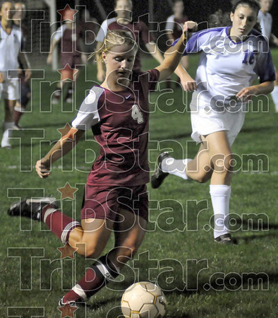 Push it: Northview's #4, Carlee Bell pushes the ball toward the Greencastle goal during game action Tuesday night at Terre Haute South.