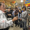 How he runs the store: Indiana State University alumnus and Baesler's Market owner Bob Baesler discusses how he chooses products for customers and sometimes how they choose them to a group of ISU MBA students Tuesday at his store.