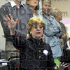 Jane speaks: Jane Pauley addresses a small crowd of Obama supporters in Sullivan Tuesday afternoon.