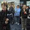 Greeting: Jane Pauley introduces herself to a gathering of Obama supporters at the Democrat headquarters in Sullivan Tuesday afternoon.