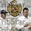 Arson: Terre Haute fire chief Jeff Fisher (R) and deputy chief Bret Doan speak with media during Tuesday's press conference dealing with a rash of arson fires since the first of the year.