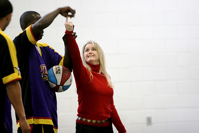 The Harlem Wizards visit a local area elementary school during the day of their evening performance at Gardner-Webb University.
