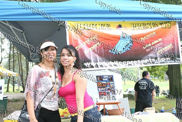 "Event organizer and host, Judy Battista with her daughter Raquel kick-off Hispanic Heritage Month celebrations in Downing Park Sunday, September 14, 2008, as part of ""A Taste of Latin Culture."""