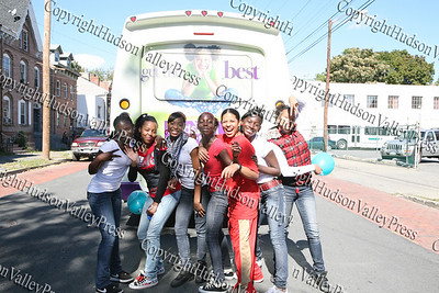 Youth group Statuz poses for a picture on Liberty Street during the First African American Unity Day Parade in 27 Years held October 4, 2008 in the City of Newburgh.