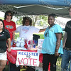Angelia Valles, Marsha Leed, Barbara Brown, Wendy Williams and Evan Leed register voters at the 13th Annual Latin American Festival in Beacon, NY.