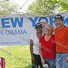 New York for Obama supporters Tracy Hunter, Linda Buckner and Fred Bernstein at Riverfront Park in Beacon, NY.