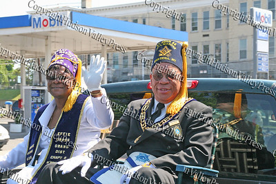 Eastern Star - Masons are shown on their float as they come down Broadway in the City of Newburgh during the annual Memorial Day Parade.