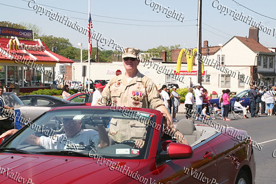 Grand Marshall Chief Master Sgt Robert Clark leads the Memorial Day Parade down Broadway in the City of Newburgh.