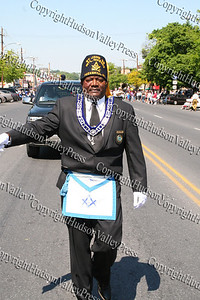 Masons march down Broadway in the City of Newburgh during the annual Memorial Day Parade.