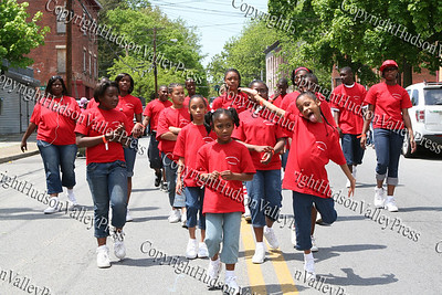 Friends Youth Court march down South Street in the City of Newburgh during the Third Annual Youth Pride Parade, held on Saturday, May 17, 2008.