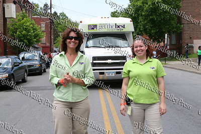 Hudson Health Plan employees march down South Street in the City of Newburgh Third Anuual Youth Pride Parade, held on Saturday, May 17, 2008. Laurene Sandstrom (left)