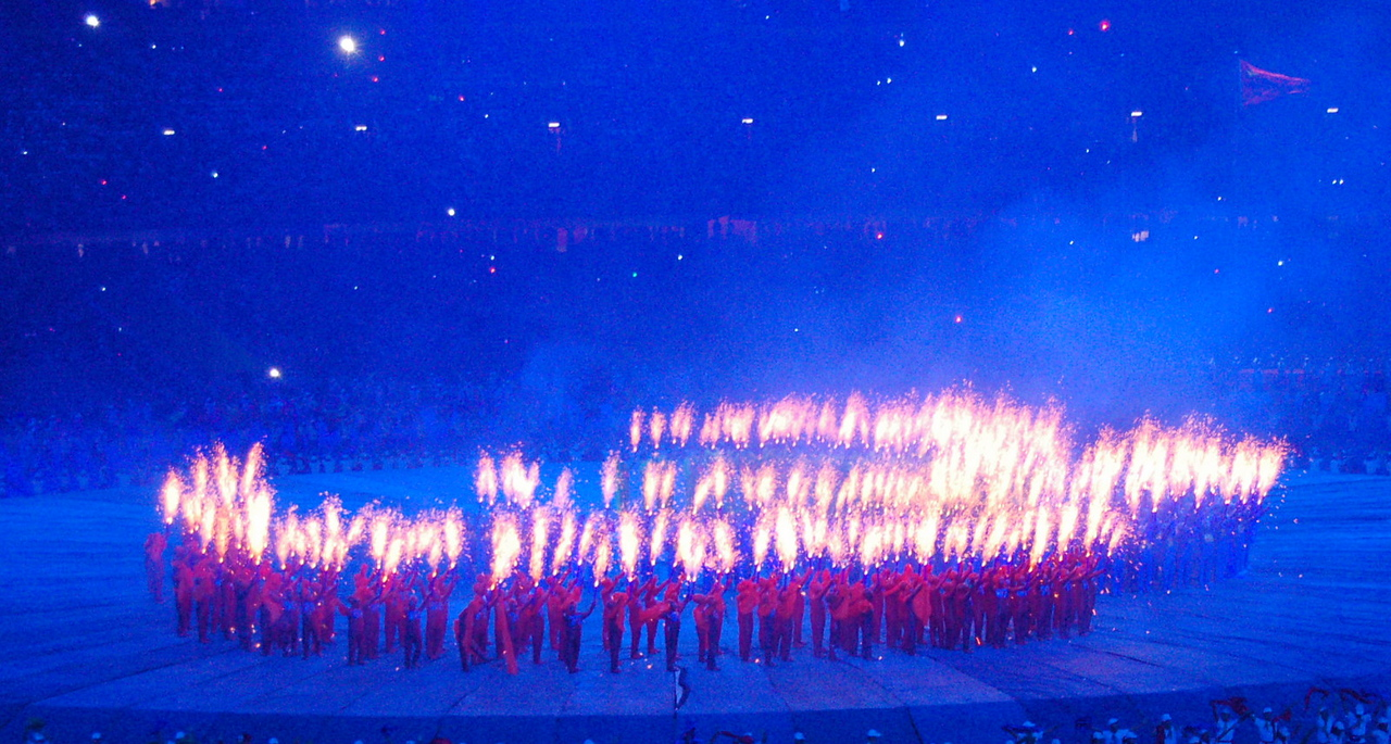 Paralympic logo in fire