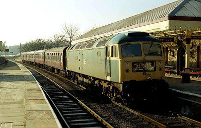 My first full day out of the year was a running day at the East Lancs: 47402 pauses at Ramsbottom with the 0950 Bury-Rawtenstall (16/02/2008)