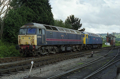During a temporary break in proceedings, 47105 and 47701 head towards the shed at Toddington after the former had arrived with the 1543 from the Race Course (01/08/2008)