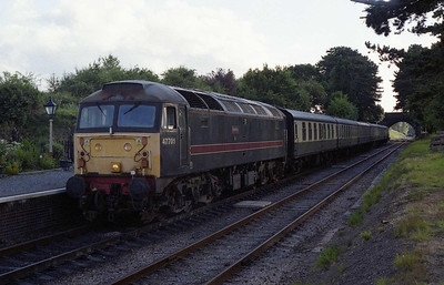 A few minutes later, 47701 waits to depart from Cheltenham Race Course with the return 1833 to Toddington (01/08/2008)