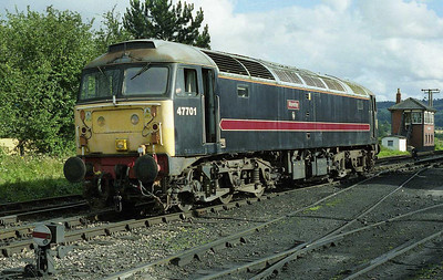 Having deposited '105 on the shed, 47701 makes its way back towards Toddington station to work the 1625 to Cheltenham. After several years in store, the loco had been returned to working order by BT4F volunteers at Long Marston (01/08/2008)