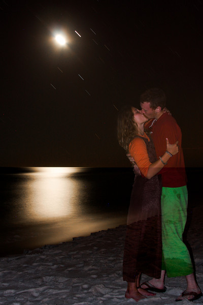John and Tracy Borland soak in the moonlight on the shores of the Gulf of Mexico.