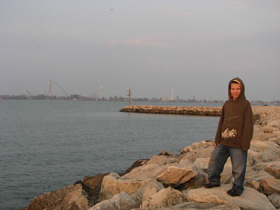Adam overlooks Lake Erie - and in the background is Cedar Point.
