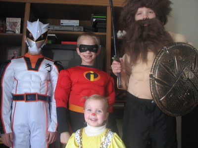 Adam is the White Power Ranger, Eli (a friend) is Mr. Incredible, David is the Barbarian, and Kathryn is the clown girl.