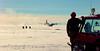 Scientists admiring the plane drifting cargo. <br /> <br /> Videnskabsfolk beundrer flyets manøvrer.