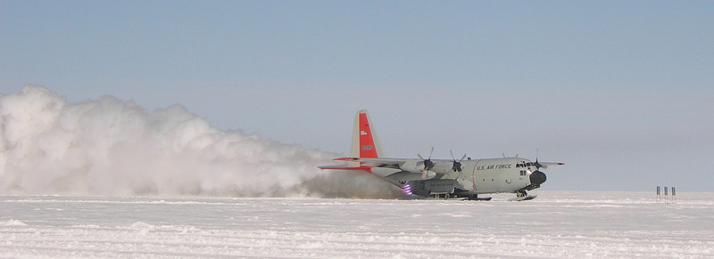 """Take-off. <br /> <br /> Photo: Jim Hedfors (Swedish Geotechnical Institute), NEEM ice core drilling project,  <a href=""""http://www.neem.ku.dk"""">http://www.neem.ku.dk</a>"""