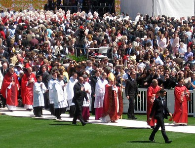Pope Benedict XVI leaves the Mass
