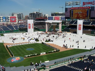 Nationals Park, transformed into an open-air church